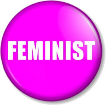 "FEMINIST 1"" Pin Button Badge Feminism Women's Rights Equality Activist - Pink"